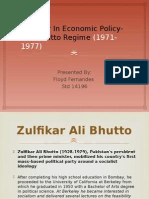 Bhutto Era- Seminar Ppt   Zulfikar Ali Bhutto   Economics
