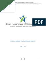 FY 2014 FINAL Customer Senbrvickhe Report 5.30.14