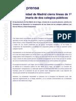 La Comunidad de Madrid cierra líneas de 1º y 2º de primaria de dos colegios públicos