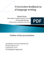the role of corrective feedback in second language writing