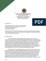 City of South Pasadena SR-710 Draft EIR EIS Comment Letter 8-5-15