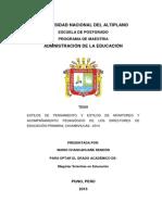 Tesis Estilos de Pensamiento y Estilos de Monitoreo y Acompañamiento Pedagogico Una-puno 2015.