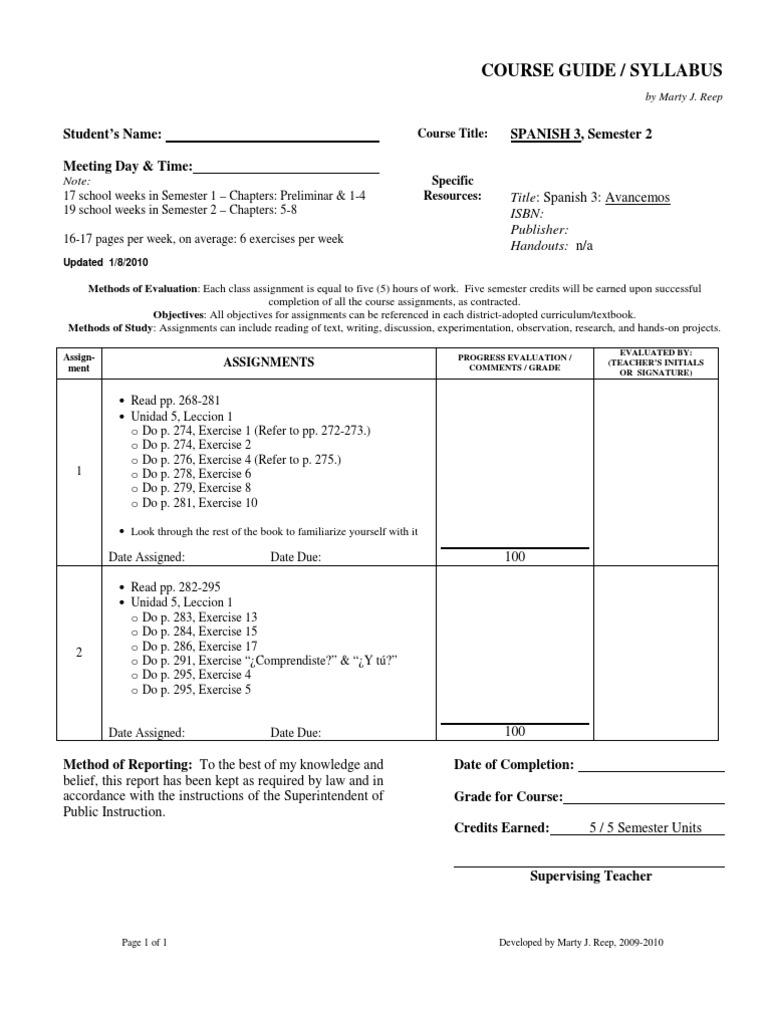 SPANISH 3, Sem 2 (Avancemos) - Course Guide / Syllabus / Lesson Plans - by  Marty J Reep | Syllabus | Curriculum