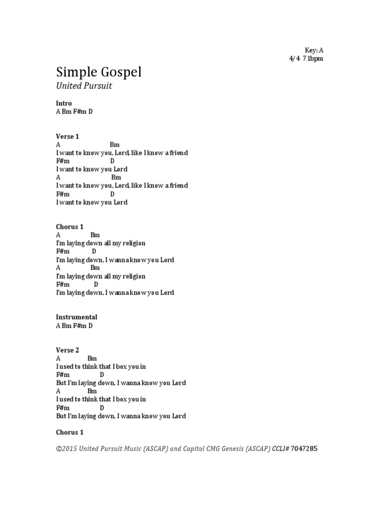 Simple gospel chords song recordings song structure hexwebz Image collections