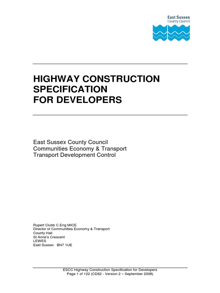 Escc construction spec for dev 08 for Table 6 2 specification for highway works