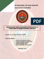 Modelo Primario Exportador de La Produccion de Arequipa Periodo 2008-2014