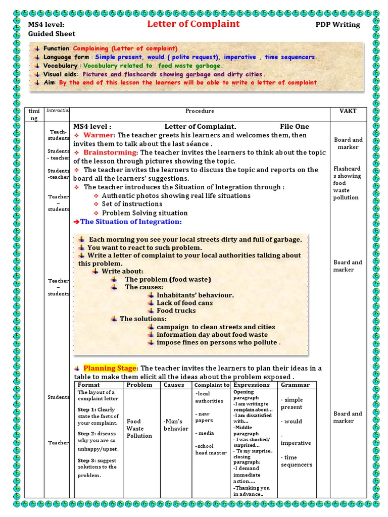 Ms4 level letter of complaint lesson plan pedagogy expocarfo