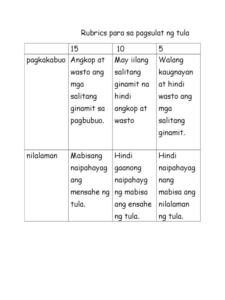 Rubrics para Sa Pagsulat NG Tula | PDF