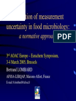 Estimation of Measurement Uncertainty in Food Microbiology AOAC EURACHEM