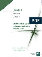 Lectura 2 - Edad Media en España - Legislación Visigoda y Derecho Foral