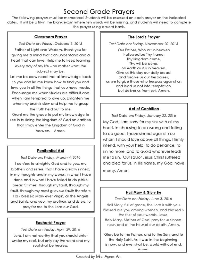 second grade prayers | Penance | Lord's Prayer