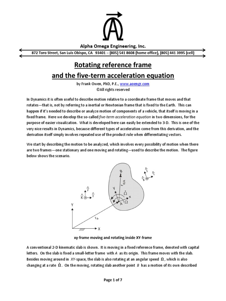 Rotating Reference Frame | Euclidean Vector | Velocity