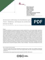 Dictionnaire Méthodique de l'Architecture Grecque Et Romaine. t. I. Materiaux