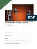 Plan Nutricional Para Hacer Músculo