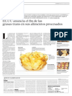 Usa Anuncia Fin de Grasas Trans en Alimentos Procesados DC
