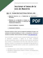 Como Seleccionar El Tema de La Tesis de Maestria .PDF