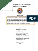 la Organización de Los Productores y La Difusión Como Factores Que Explican La Falta de Desarrollo de La Cerámica Artesanal en La Comunidad de Raqchi