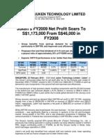 Juken Technology Limited FY2009 Net Profit Soars to S$1,173,000 From S$46,000 in FY2008_230210
