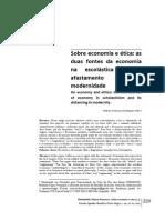 Sobre Economia e Ética - As Duas Fontes Da Economia Na Escolástica e o Seu Afastamento Na Modernidade