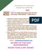 Bloomingdale Civic Association House Tour Request for Photos 2015 08 13