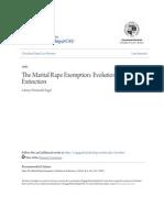 The Marital Rape Exemption- Evolution to Extinction