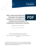 THE LANGUAGE PORTFOLIO AS A STRATEGY TO IMPROVE ESL WRITING IN STUDENTS OF FIRST GRADE OF SECONDARY AT SAGRADOS CORAZONES SCHOOL