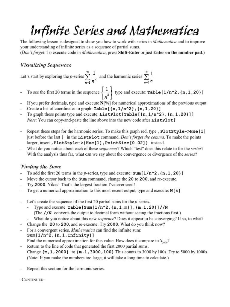 Infinite Series   Series (Mathematics)   Sequence
