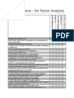 Questionnaire for Factor Analysis