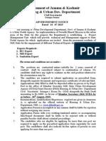 Notification Housing Urban Development Department IEC MIS Sanitation Expert Posts