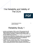 2. the Reliability and Validity of the OCAI
