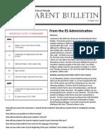 ES Parent Bulletin Vol#1 2015 August 14
