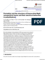 FFormation and the Structure of Freeze-dried MgO Nanoparticle Foams and Their Electrical Behaviour in Polyethylene