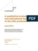 A Qualitative Evaluation of Non-educational Barriers to the Elite Professions