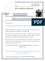 Exemption to Private Limited Companies- Series-85