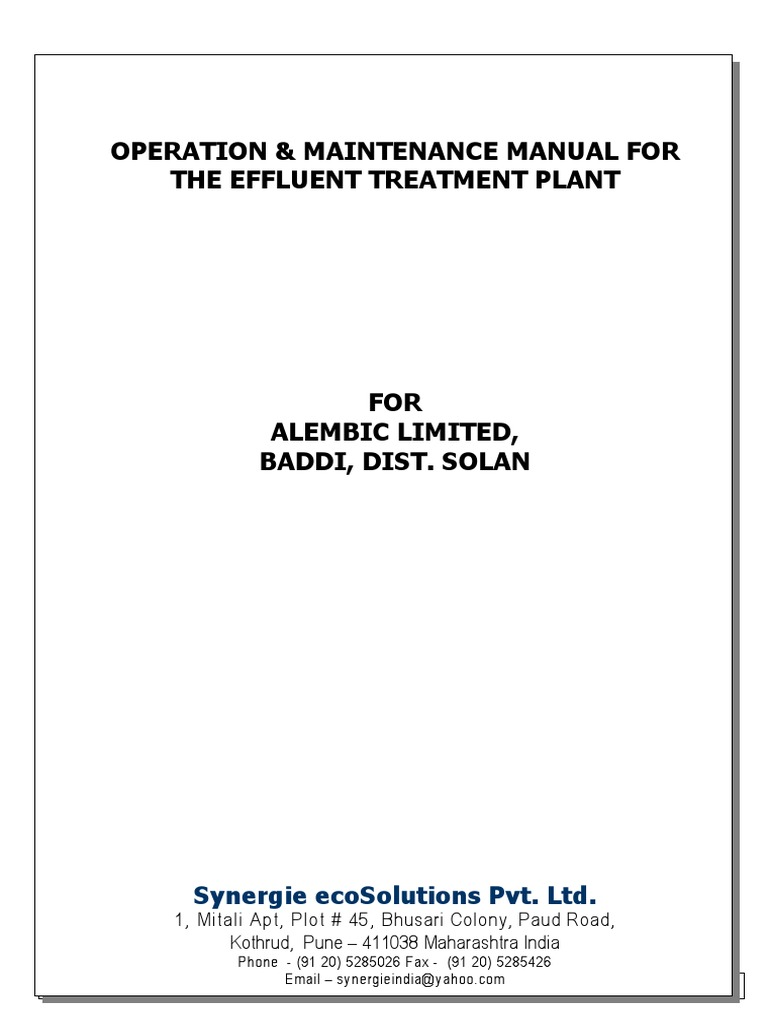 etp manual sewage treatment liquids rh scribd com Building Operations and Maintenance Manual Building Operations Manual Template