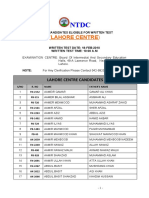 List of Eligible candidates for NTDC test