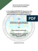 La Tasa Interna de Retorno y Valor Actual Neto en Proyectos Para Plantaciones de Teca