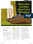 what the new teachers want from colleagues