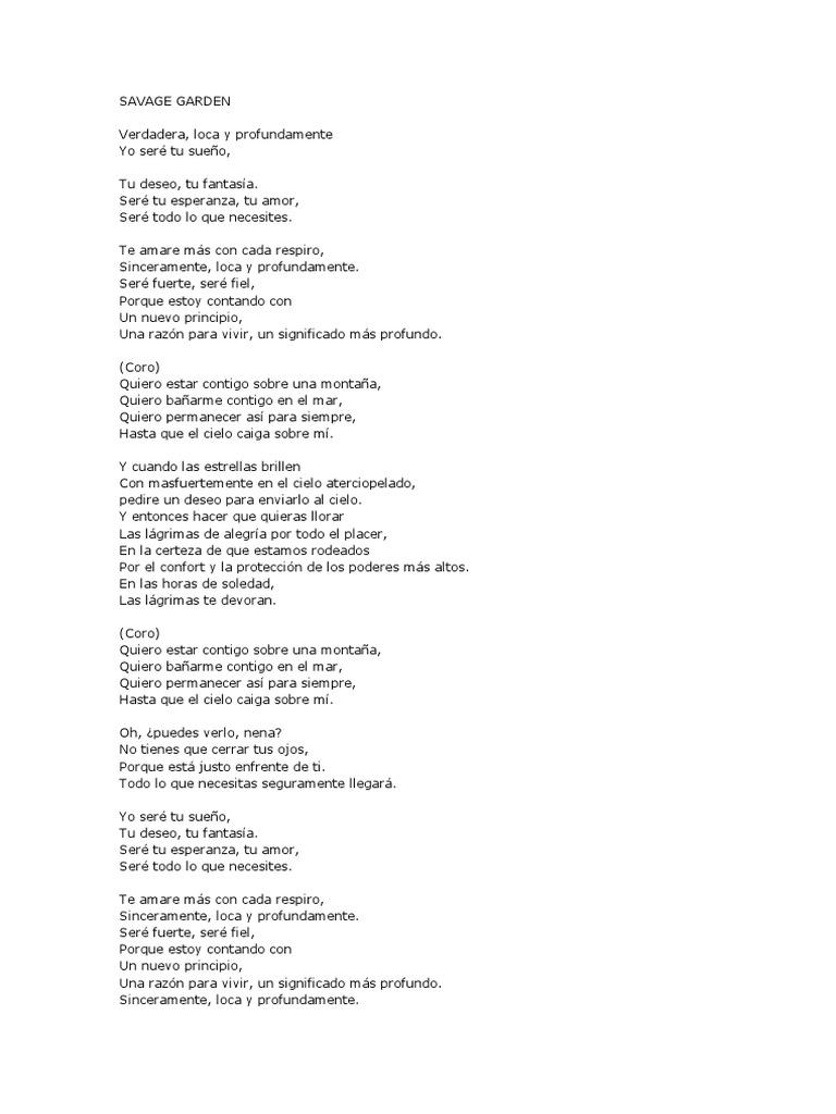 Letra En Espanol Cancion Savage Garden Truly Madly Deeply