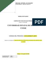 Formato Borrador de Pliego Cpc Compra Por Catalogo