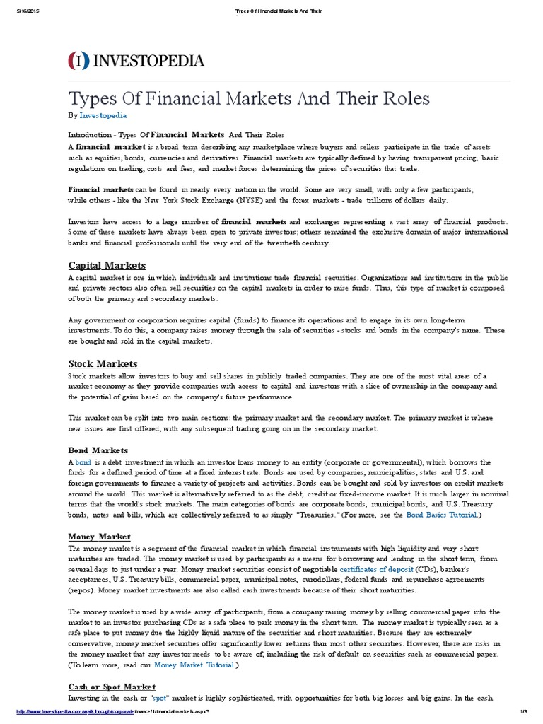 Financial Markets And Their Roles Financial Markets Foreign