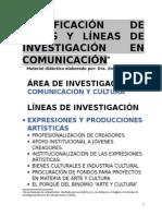 Clasificación de Áreas y Líneas de Investigación Con Énfasis en COMUNICACIÓN Y CULTURA