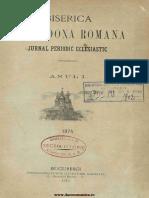 Biserica Orthodoxă Romană - Jurnal Periodic Eclesiastic, 001, Nr. 02, Noiembrie 1874