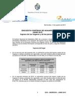 Ingresos de los hogares y las personas, Junio 2015