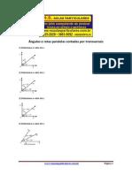 Geometria Plana Angulos e Retas Paralelas Cortadas Por Uma Transversal