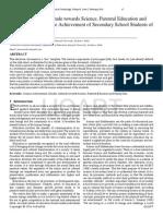 Effect of Gender Attitude Towards Science Parental Education