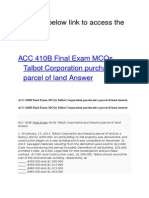 ACC 410B Final Exam MCQs Talbot Corporation Purchased a Parcel of Land Answer