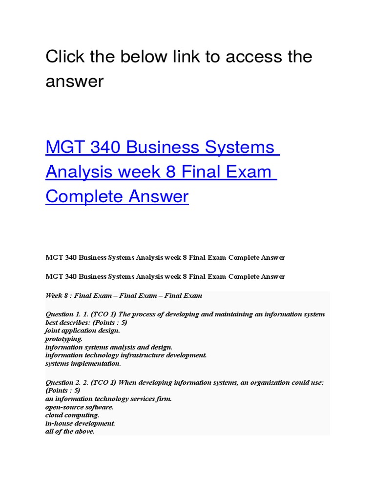 Mgt 340 Business Systems Analysis Week 8 Final Exam Software Development Systems Science