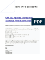 GM 533 Applied Managerial Statistics Final Exam