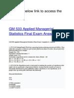 GM 533 Applied Managerial Statistics Final Exam